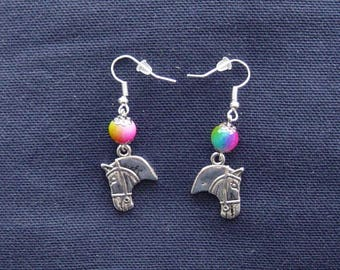 Horse head and multicolor bead earrings