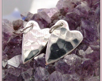 1 Sterling Silver Heart Charm, Hammered Heart Charm, 15mm Sterling Heart, ND23