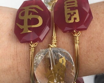 Florida State Seminoles Wire Wrapped Bangle Bracelet Set of 3