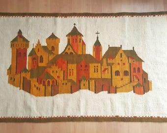 Vintage Kilim Rug - Wool Rug - Kilim Rug - Wall Hanging Rug - Hand Woven Rug - Large Kilim Rug - Polish Tapestry Rug - 180x100cm - 1970s