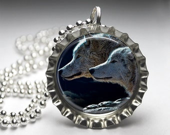 Wolves Wolf Jewelry Bottlecap Pendant Necklace - Free Ball Chain