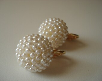 SALE Vintage 1960's White Faux Pearls Gold Clip Earrings