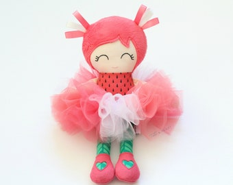 Handmade Cloth Doll, Watermelon Gift, Fabric Doll, Rag Doll, Watermelon Decor, Doll for Girls First Birthday, Cotton Doll, Baby Soft Toy