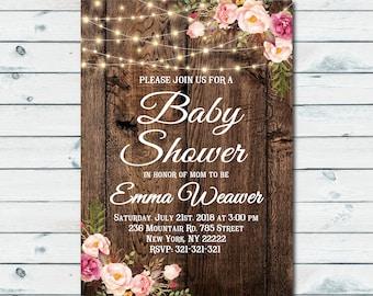 Rustic Baby Shower Invitation, Boho Floral Baby Shower Invitation, Baby Sprinkle, Country Invitation, Printable Invitation 1050