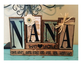 personalized made to match customizable grandparents block set / nana mimi gigi grandma