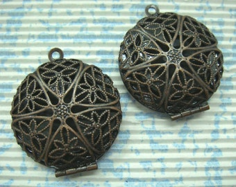 Antique Copper Round Filigree Locket Charms, 2 pcs