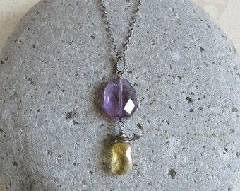 Amethyst Necklace, Citrine Pendant, Oxidized Sterling Silver, February November Birthstone Jewelry