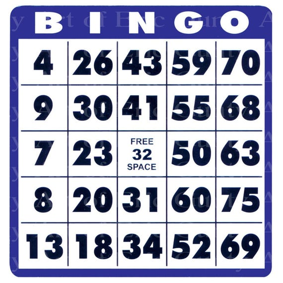 Blue Bingo Card Birthday - Edible Cake and Cupcake Topper For Birthday's and Parties! - D22900