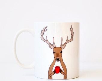 Deer Buck Mug christmas xmas holiday present gift - brown hunting gift red deer coffee cup mug hunter gift illustration ceramic