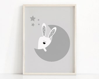 Moon And Stars Nursery Print, Bunny Nursery Printable, Baby Wall Art, Gray White Nursery Decor, Baby Animal Print, Gray Nursery Art Print
