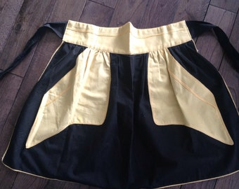 Vintage black cafe apron, fifties style retro housewife maid costume mid century style