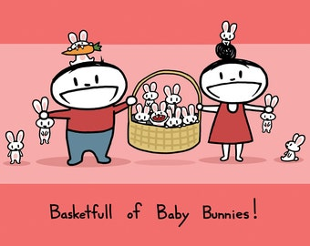 Basketfull of Baby Bunnies Greeting Card