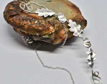 Silver Oak and Acorn Necklace