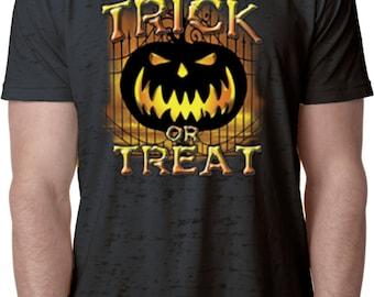 Men's Halloween Shirt Trick Or Treat Burnout Tee T-Shirt 17479-NL6110 QFHBZK5b