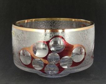 Czech Bohemian Lead Crystal Cut Glass Bowl