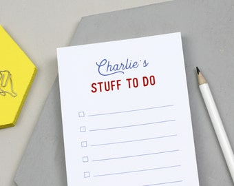 To Do List Pad | To Do List | To Do List Notepad | Stuff To Do Pad | To Do | To Dos | Things To Do | Personalised 'Stuff To Do' List Notepad