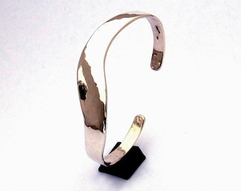 Sterling Cuff Bracelet, Slender S Curve, Light Hammering