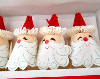 Vintage Honeycomb Santa Picks, 1967 Capri Creations 8 Paper Santa Claus Toothpicks, Japan