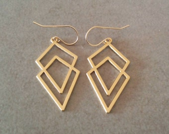 Geometric Earrings, Square Earrings, Earrings, Triangle Earrings, Gold Geometric Earrings, Bridesmaid, Geometric Jewelry, Dangle Earrings