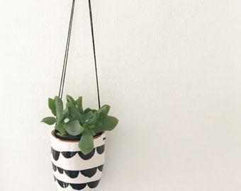 Cute Hanging Planter Ceramic Planter / Succulent Planter Black and White Design