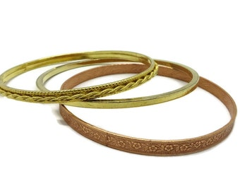Vintage Bangle Trio, Coppertone Bangle, Goldtone Bangles, Skinny Bracelets, Braided Bangle, Flowered Bracelet, Gifts