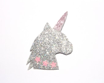Large Unicorn brooch silver and pink glitter