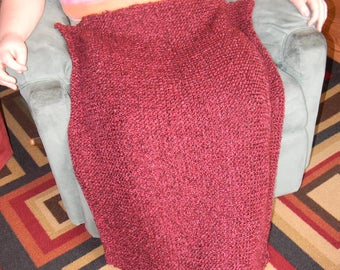 Knitted Lap Blanket, Perfect for Wheel Chairs-Claret