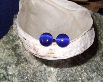 Cobalt Blue Fibre Optic Stud Earrings Earings Titanium Ear Post and Clutch Hypo Allergenic 5.5mm Round Cats Eye