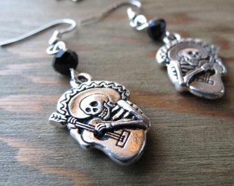 Silver Skeleton Earrings - Musician - Skeleton dangles - Guitar - Skulls - Skeletons -Day of the Dead - Dia de los Muertos - Mariachi
