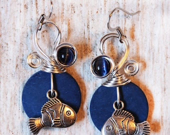 Dangle Fish Earrings, Fish Jewelry, Nautical Earrings, Aquatic Earrings, Fish Drop Earrings, Fun Earrings, Ocean Theme, Beach Earrings