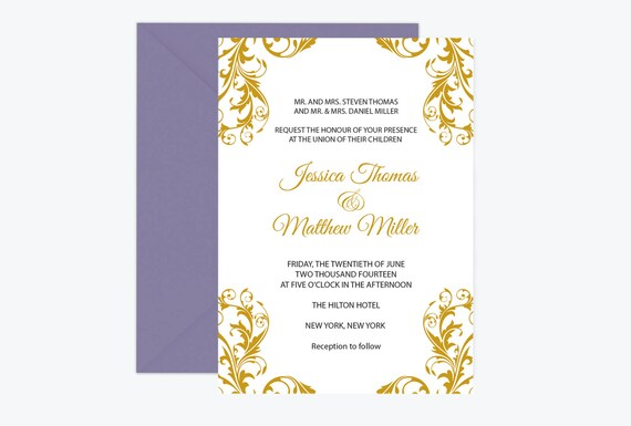 Flourish Wedding Invitations: Damask Wedding Invitation Template Gold Flourish Damask