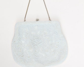 Vintage Beaded Purse / Vintage White Beaded Handbag /