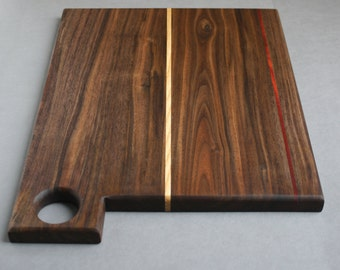 Walnut, Ash and Bloodwood Cutting Board with hole / Serving Board / Cheese Board / gifts for him / gifts for her / bday gift / kitchen decor