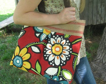 Red Floral Handbag Purse Tote Bag Shoulder Bag with Jute Webbing