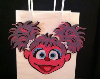 """Abby Cadabby from Sesame Street - Set of (6) -  8.5"""" White Goody Bags With 5"""" Abby Die Cut Heads"""
