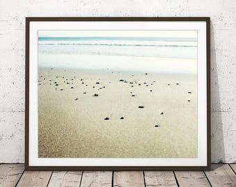 """Beach Photography, Pale Blue Beige Wall Art, Ocean Photography, Neutral Beach Print, Beach Stones,  Minimal Beach Art  """"Pale Beach"""""""