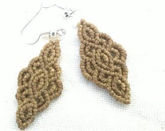 Macrame earrings dangle Boho jewelry in green