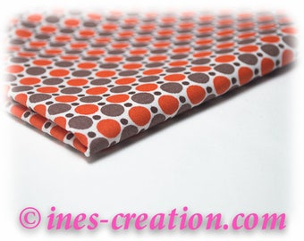 "Coupon fabric ""Dots Orange"" 100% cotton sold from 10 cm"