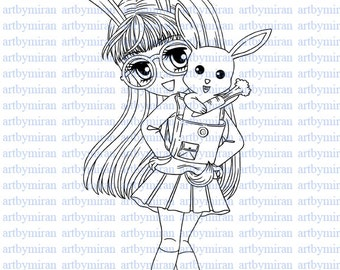 Digital Stamp-Bunny Love, Digi Stamp, Coloring page, Printable Line art for Card and Craft Supply, Art by Mi Ran Jung