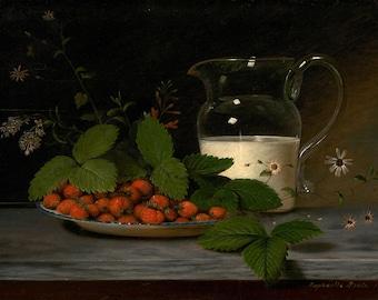 "Raphaelle Peale Still Life : ""Strawberries and Cream"" (1816) - Giclee Fine Art Print"