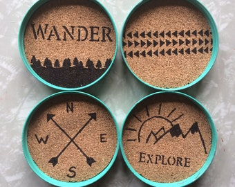 Mason Jar Lid Wander And Explore Decorative Coasters