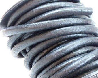 6mm Round Leather Cord in Black . 3 feet . High quality using lead free dyes