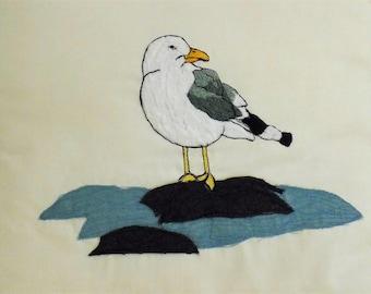 Seagull/ nautical/ coastal scatter cushion, home decor. Handmade embroidery on felt. Blue back panel. Great 4 gift/ kitchen/ bathroom/lounge