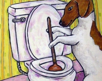 Jack Russell Terrier Plunging the Toilet Dog Art Tile