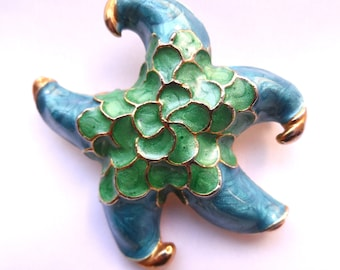Large STARFISH brooch in pearlised green and blue enamel on gold tone metal, stunning vintage pin