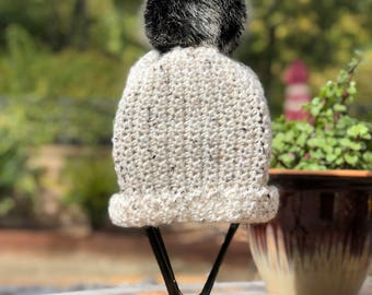 The Bridgette - White with black speckles crochet slouchy or cuff  beanie with  black faux fur pom pom