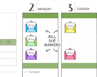 Bill Due Planner Stickers - Bill Due Envelopes - Planner Stickers - Hand Drawn Stickers - Payment Due - (LS-022)