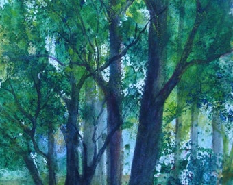 Forests Edge, Forest Floor, Trees, Day-time, Greens, Blues, Landscape, Woods, Woodlands,Original Watercolor Painting  Janet Dosenberry