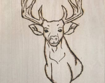Deer & Antlers Wood Burned Wall Art