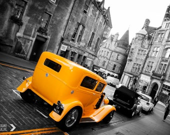 Hotrod Retro, Automobile Art, Car Wall Art, Americana, Ford, Edinburgh Print, Color Splash, Fine Art, Black And White, Yellow Wall Decor